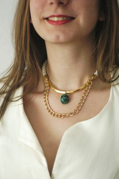 Rope Short Necklace N7 - Turquoise Gem Ornamental Semi-Precious Stone - Gold Brass -  Green Mint Blue Ivory Cream Cotton