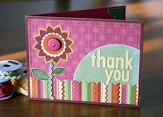 Thank You card using CTMH Boom-di-ada paper and ric-rac.