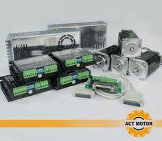 4Axis Nema 23 Stepper Motor 425oz-in,3A,112mmCNC Mill Control 50VDC/4.2A/128Mric