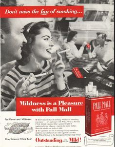 """1956 PALL MALL CIGARETTES vintage magazine advertisement """"Don't miss the fun"""" ~ Don't miss the fun of smoking ... Mildness is a Pleasure with Pall Mall ~ Size: The dimensions of the full-page advertisement are approximately 10.5 inches x 13.5 inches (26.75 cm x 34.25 cm). Condition: This original vintage full-page advertisement is in Excellent Condition unless otherwise noted."""