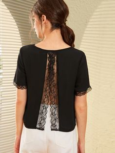 Check out this Solid Scalloped Lace Trim Top on Shein and explore more to meet your fashion needs! Diy Fashion, Fashion Dresses, Paris Fashion, Diy Vetement, Altering Clothes, Clothing Hacks, Scalloped Lace, Long Blouse, Mode Outfits