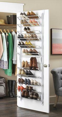 Whitmor 36 Pair Fold Up Over The Door Shoe Rack - White for sale online Shoe Storage Unit, Shoe Storage Solutions, Closet Storage, Closet Organization, Organization Ideas, Shoe Storage Door, Organizing, Kitchen Organization, Storage Systems
