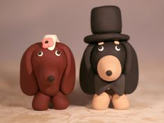 Dachshund Wiener Dog Wedding Cake Topper by cockTHEshutter on Etsy, $38.00
