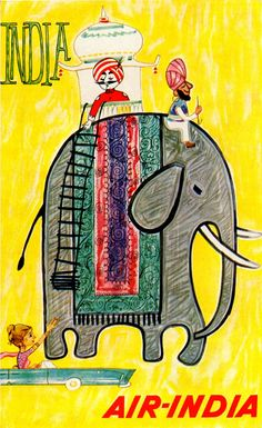 Vintage Air India Poster. Miss their Maharajah mascot! Their newsy & topical posters were always fun.