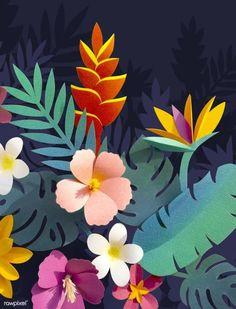 Ideas For Tropical Flower Art Floral Design Cardboard Box Crafts, Paper Crafts For Kids, Arts And Crafts, Paper Leaves, Paper Flowers, Felt Flowers, Diy Flowers, Tropical Leaves, Tropical Flowers