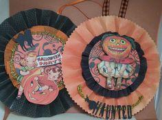 Halloween Rosette  SET of 2 vintage style by DorothysDolls on Etsy
