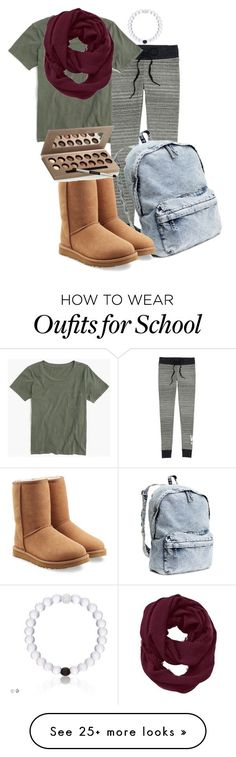 """Lazy School Day"" by annabread on Polyvore featuring Victoria's Secret, J.Crew, Athleta, H&M, UGG Australia and Laura Geller"