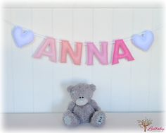 Personalized felt name banner wall art nursery decor - nursery decor - ombré - MADE TO ORDER by LullabyMobiles on Etsy