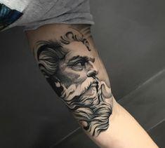 Dope Tattoos, Black Tattoos, Body Art Tattoos, Tattoos For Guys, Inner Bicep Tattoo, Arm Tattoo, Zues Tattoo, Greek God Tattoo, Valkyrie Tattoo