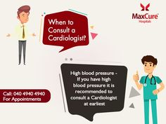 When to consult a cardiologist? Visit: https://maxcurehospitals.com/ For Appointment Call: 040 4940 4940 #MaxCureHospitals #MaxCure #Cardiology #Cardiologist #HighBlooodPressure #RisktoHeart #HeartDisease #HeatProblem #ConsultExperts #ConsultOurDoctors #Hyderabad