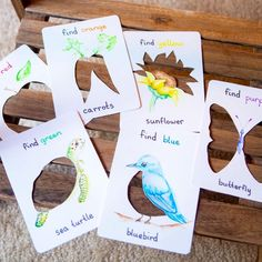 """Educating Emery on Instagram: """"**DIY** I can't for the life of me remember where I saw this idea, possibly Pinterest! I just love the idea of Color Search & Find Cards! I…"""" Blue Butterfly, Blue Bird, Search And Find, I Saw, Just Love, Place Card Holders, Pure Products, Canning, Montessori"""