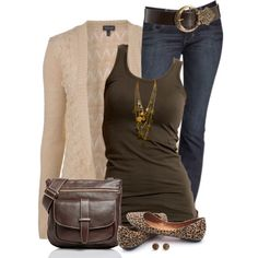 I kind of like this all brown with the leopard flats. Not a color combo I would normally wear