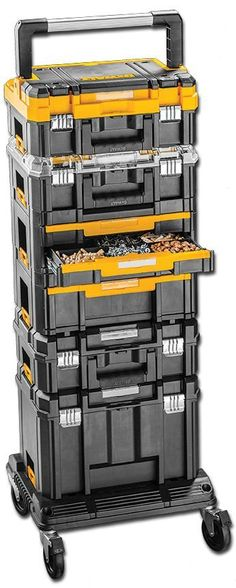 DeWALT TSTAK System: The system includes six different types of stackable, interlocking containers designed to hold everything from power tools to small parts. You pick and choose the components that are right for you – the possible combinations are nearly endless. The containers (sold separately) lock together and to the available trolley or cart