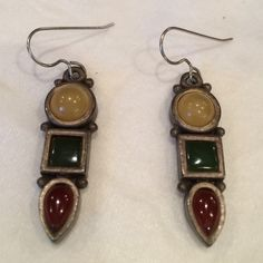 Designer artist earrings These beautiful yellow, green, and red earrings were bought from a designer artist ! Certainly unique, and in great shape Vintage Jewelry Earrings
