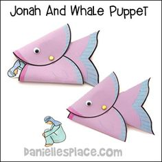 Whale Puppet Bible Craft and Learning Activity for Jonah and the Whale from www.daniellesplace.com
