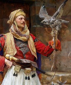 marcuscrassus: Paja Jovanović - The Falconer century) Arabian Art, Islamic Paintings, Islamic Art, Indian Art, Traditional Art, Art History, Character Art, Fantasy Art, Art Drawings