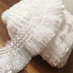 Ruffle Trim, Lace Trim, Ruffles, Lace Ribbon, Lace Fabric, White Embroidery, Couture Embroidery, Beaded Embroidery, Tejidos