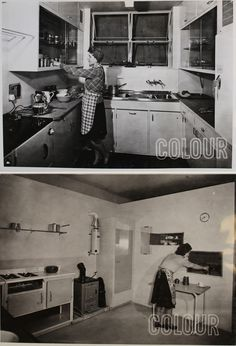The kitchens of the future. A prototype for a post war kitchen, which was shown at the British Commercial Gas Association's Kitchen Planning Exhibition at Dorland Hall, 1945 (INF 2/44)   Transcript In the Type 4 Working Kitchen for a flat, Mrs. Findlow starts to prepare the evening meal. Buffet-type cooker, working table and stainless steel double sink are all arranged …