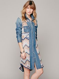 Free People Crochet Pieced Denim Maxi at Free People Clothing Boutique