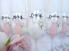bridesmaids painted flutes | Hand Painted Bridesmaid Wine Glasses - PERSONALIZED to Your Dresses ...