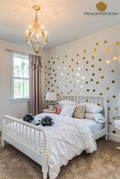 These gold polka dots are a perfect way to create an accent wall in a little girls room! Polka Dot Walls, Polka Dots, Girls Bedroom, Bedroom Ideas, Bedrooms, Hexagon Wallpaper, New Home Construction, Interior Decorating, Interior Design