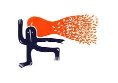 Folhas em chamas . Serigrafia, julho 2014 . Oscar Reinstein