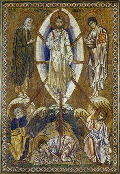 Portable icon with the Transfiguration of Christ, Byzantine artwork - circa Medium: mosaic on stucco, Louvre Museum Byzantine Icons, Byzantine Art, Religious Icons, Religious Art, The Transfiguration, Les Religions, Biblical Art, Roman Empire, Angels
