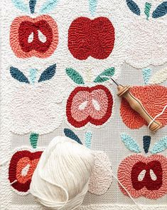 Ideas To Sell Did you order an Apple Needle Punch Pillow Kit? If so, get excited because they ship today! I have 6 left and once I sell out I won't be… Weaving Patterns, Embroidery Patterns, Hand Embroidery, Print Patterns, Textiles, Punch Needle Patterns, Penny Rugs, Kit, Rug Hooking