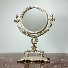 Vintage Silver Vanity Mirror with Stand and by PrimaTreasures, $45.00