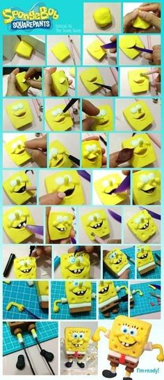 Sponge Bob Square Pants Fondant Tutorial - Could be adapted for polymer clay by chasity