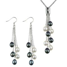 Multi-strands Silver Bar Crystal Black/White Cultured Pearl Lariat with Black/White Dangle Earrings Set