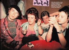 Johnny Rotten and Steve Jones with Helen Wellington-Lloyd and Jo Faull