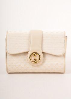 """Cream """"GG"""" Monogram Canvas Front Flap Clutch Bag – Luxury Garage Sale"""
