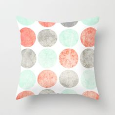 Circles (Mint, Coral & Gray) Throw Pillow by daniellebourland