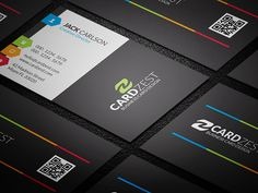 A clean and modern design with splashes of colorful touches all around. The multi-color tags and lines adds a little fun to the all bold black background. A versatile design that can be used as corporate or personal card.