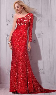 Sparkly One Shoulder Long Sleeve Red Sequin Crystal Evening Prom Dress#reddress#sequindress#eveningdress Prom Dresses For Sale, Prom Dresses With Sleeves, Formal Evening Dresses, Homecoming Dresses, Evening Gowns, Petite Bridesmaids Dresses, Stylish Dresses, Sequin Dress, Shoulder