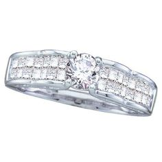 Beautiful Engagement Ring  1.00 Carat (ctw) 14K White Gold White Diamond Invisible Engagement Ring With 0.40 CT Round Center 1 CT  #Engagement #Wedding #Rings #Luxury #Luxurious #WeddingRing #engagementrings #Shopping #ForHer