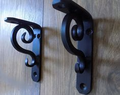 1 Quality Hand Made Pair of Wrought Iron (Forged Steel) Custom Made Industrial Style Bookcase Shelf Brackets+ Crafted by Myself! Finished in Matt Black ..(Other Colours Could Be Available on Request) Approximate Size of Example Shown; 6 inches x 4 inches Posted With Recorded Post & Overseas Tracking For Peace of Mind Combined Postage Saving On All Multi Orders UK NOTE; Remote UK Area ie Off Shore Island Postage Prices May Vary, Please Ask For a Quote. OVERSEAS NOTE ; Please Ask For a Revi...