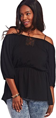 Boho Cold Shoulder Tunic in plus size