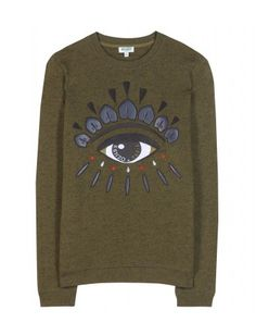 Show your love of super-cool Parisian label Kenzo with this iconic eye-embellished sweatshirt. Cut from olive-green cotton, this statement design is sure to be a style-set favourite. Pair yours with an A-line mini skirt.