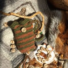 Norse Goddess Sif with flowing golden hair a symbol of a field of flowing grain ripe for the harvest. A Nalbinded Rune purse celebrating her bounty the fertility of the earth