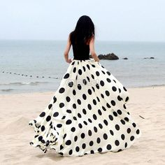 Floor-length Dress Women's Skirt Maxi Dot Print Casual Long Summer Fashion