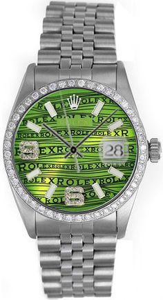 Rolex Datejust Mens Green and Diamond Face / Ruby & Diamonds Bezel Rolex Watches For Men, Fine Watches, Luxury Watches, Cool Watches, Mode Masculine, Hand Watch, Rolex Datejust, Stainless Steel Watch, Anonymous