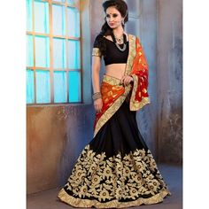 Terrific Wedding Embroidery Red Black Georgette Viscose Designer Saree Comes With black Color DHUPIAN Blouse. It Contained The Zari, Embroidery Work And Lace Broder. The Blouse Which Can be Customized up to bust Size 44