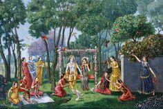Radha Krishna on the swing, Julan yatra begins today! http://www.salagram.net/parishad134.html