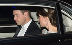 Will & Kate on their way to a Buckingham Palace Reception. Kate was wearing the Lover's Knot Tiara. - 12/8/2015