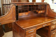 Walnut Roll Top Desk with fold out side wings.  www.thedeskcentre.co.uk