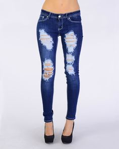 Super Ripped Skinny Jeans - Clothing from Easy Pickins