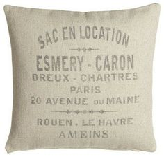 """French Laundry Home French Words Pillow, 20""""Sq. - traditional - bed pillows and pillowcases - Horchow"""