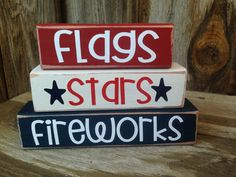 4th of JULY, PATRIOTIC, AMERICAN holiday stacking wood home decor seasonal blocks - with vinyl lettering on Etsy, $10.00